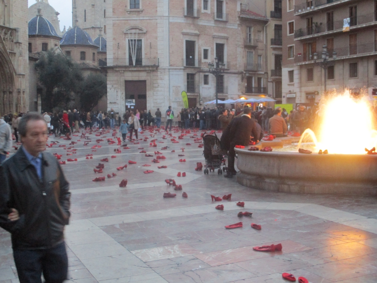 Red Shoes in the Plaza de la Virgen , Valencia, Spain