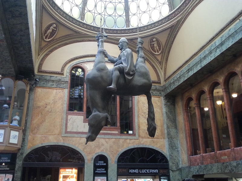 Statue of St Wenceslas Riding an Upside-Down Dead Horse (Prague)