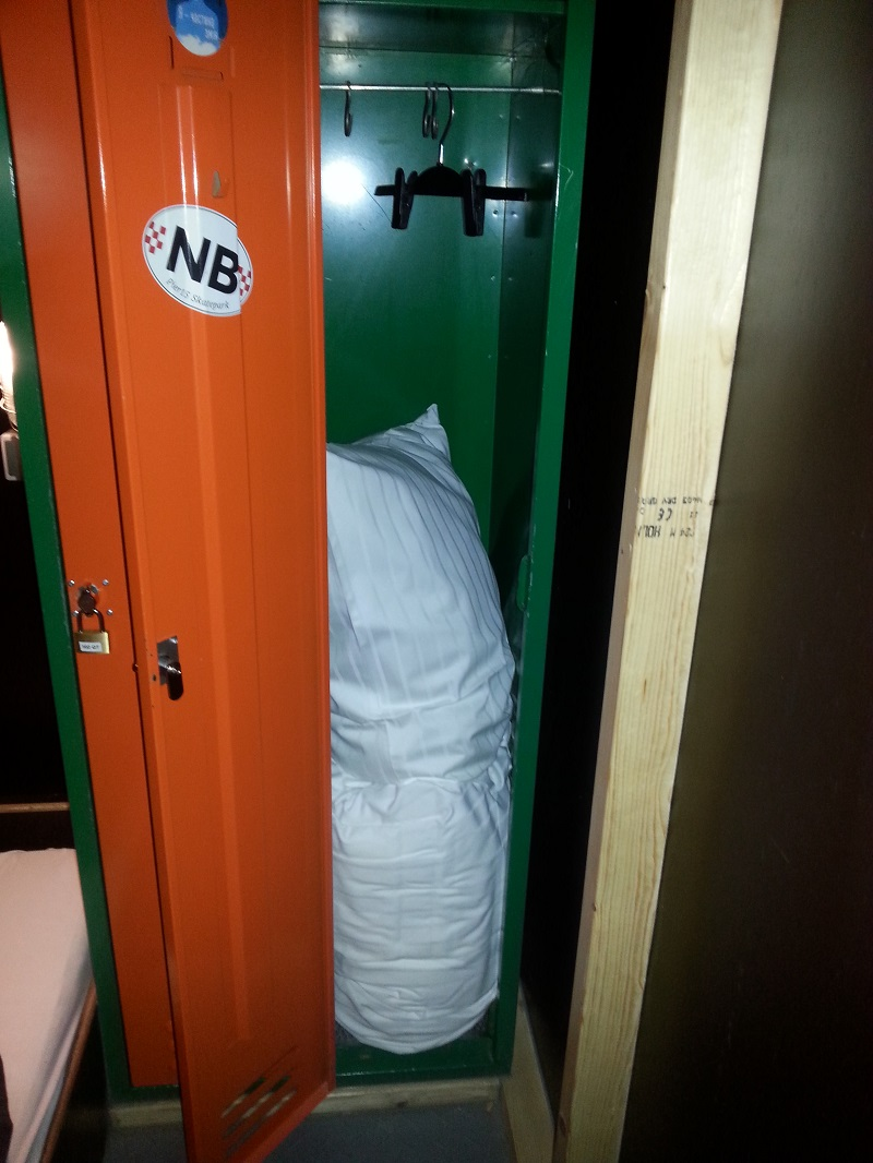 Nice, Tall Hostel Locker with the Bedding Inside