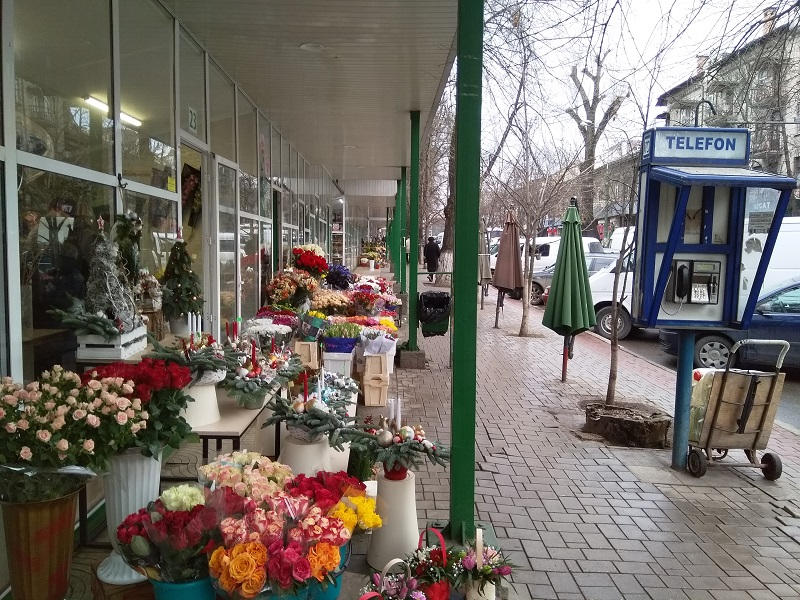 Street of Flower Shops in Chisinau Moldova