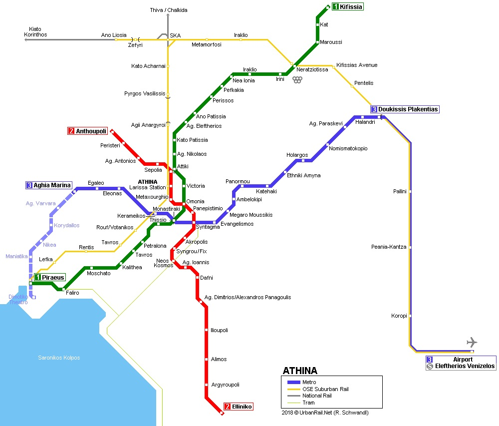 Map of the Metro Lines in Athens, Greece