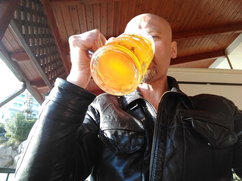 Drinking a Big Beer for the First Time at an Albanian Beer House