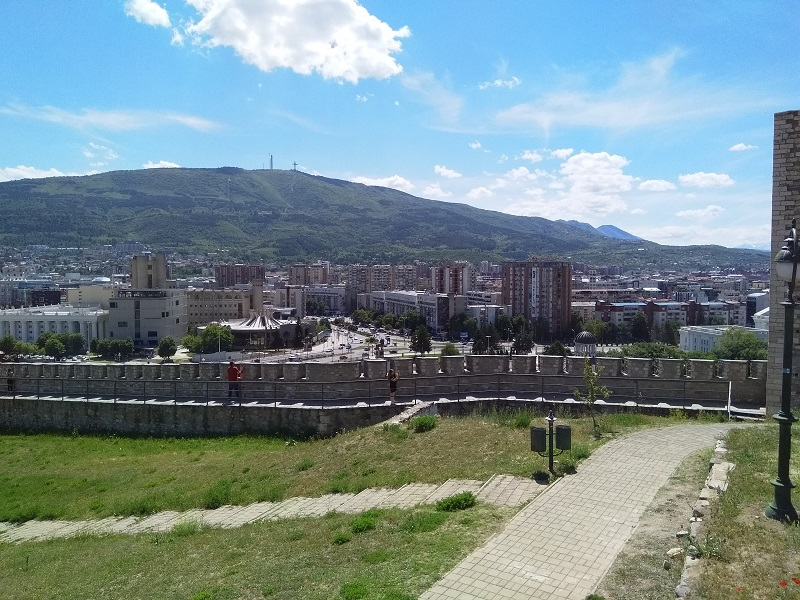 View of Mount Vodno and the Millienium Cross (Taken from Skopje Fortress)