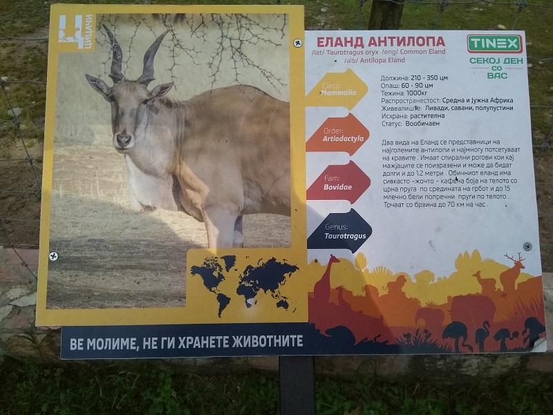 Animal Information Board at Skopje Zoo