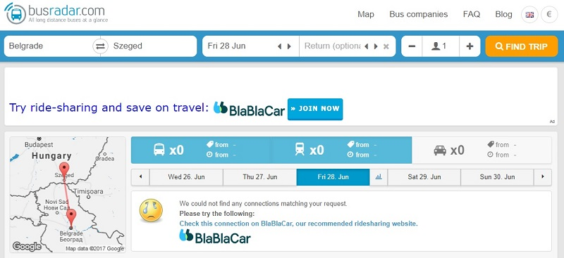 BusRadar Says No and Tells you to Go with BlaBlaCar Insated.