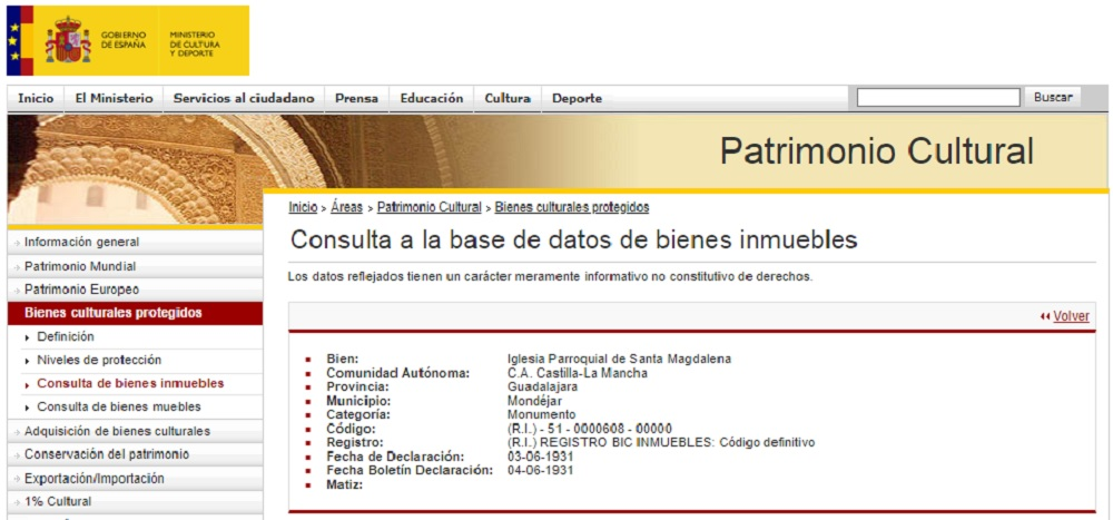 When the Church Became a Monument (Results from the Spanish Government Website)
