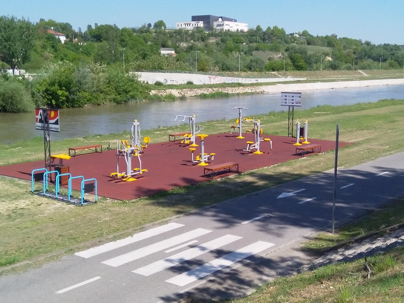 Outdoor Fitness Area Beside the River (Skopje, North Macedonia)