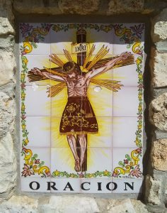 Decorative Tile Picture Showing the Crucifixion of Christ