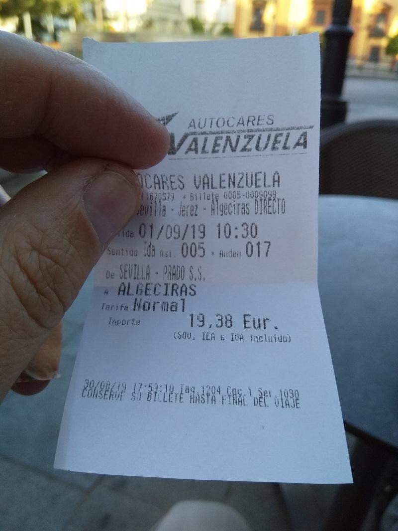 Bus Ticket (Sevilla to Algeciras)