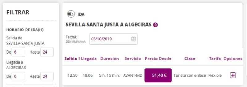 Sevilla-Santa Justa to Algeciras by Train
