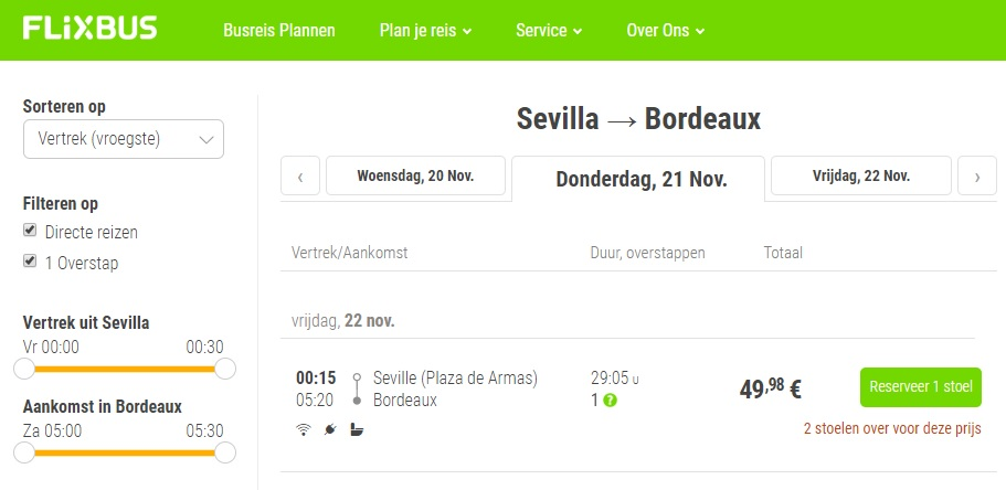 FlixBus is often the cheapest way to travel between Seville and Bordeaux